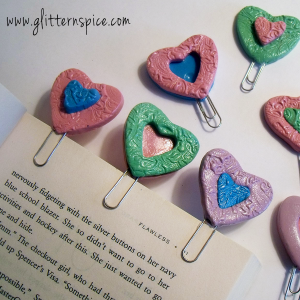 Polymer Clay Heart Shaped Bookmarks