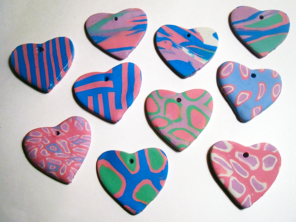 Bake The Polymer Clay Heart Pendants