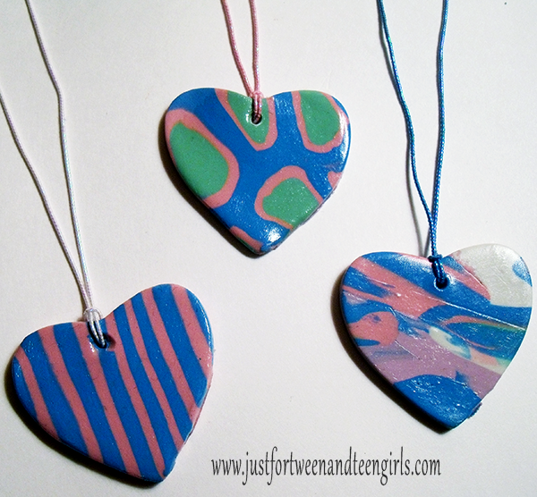Polymer Clay Heart Pendant Necklaces