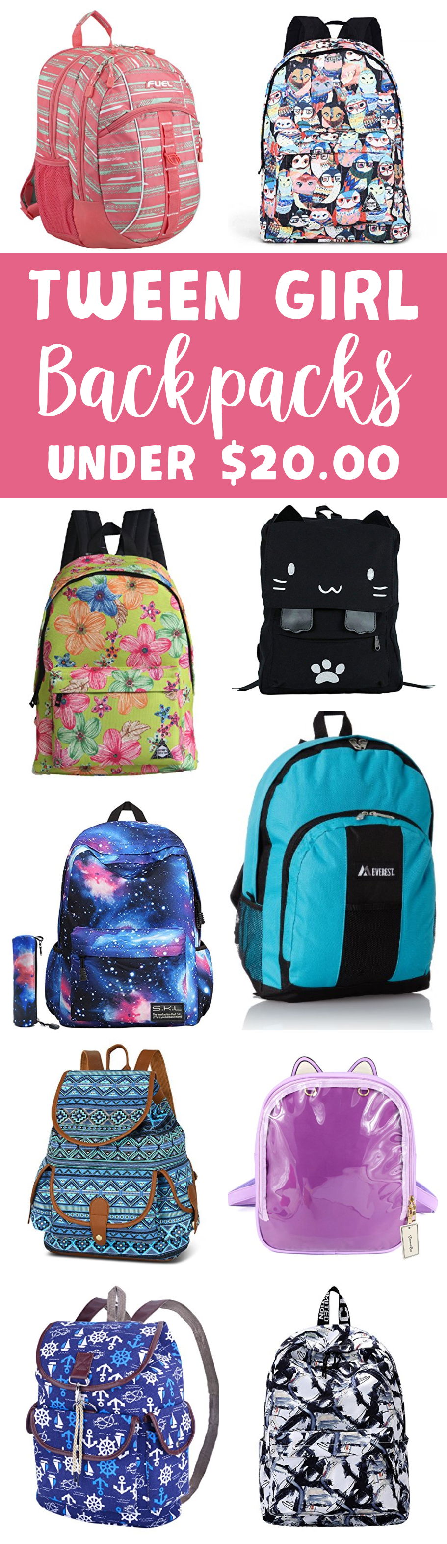 Tween Girl Backpacks Under $20