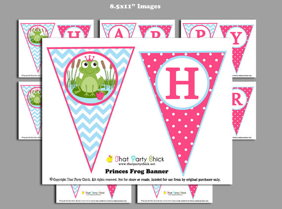 Princess And The Frog Birthday Party Printable Banners