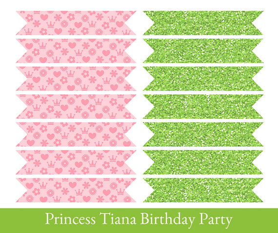 Princess And The Frog Drinking Straw Flags