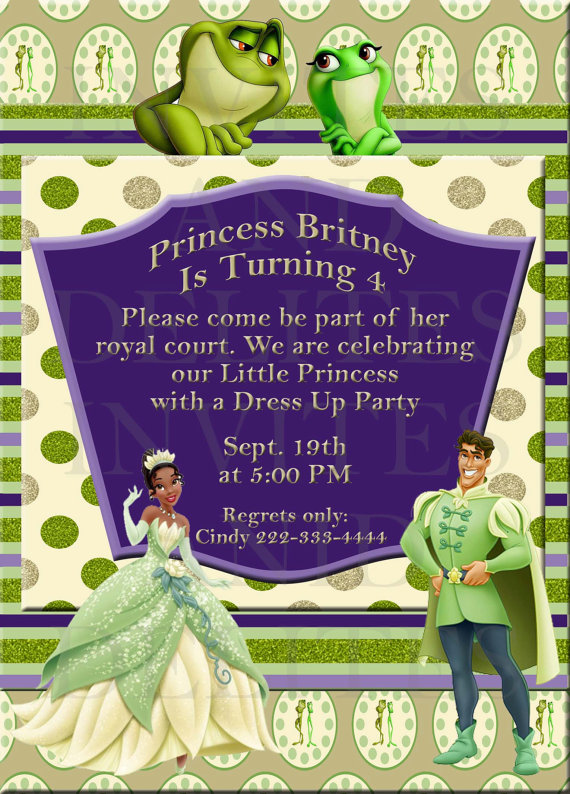 Princess And The Frog Birthday Party Printables – Princess Tiana Party Invitations