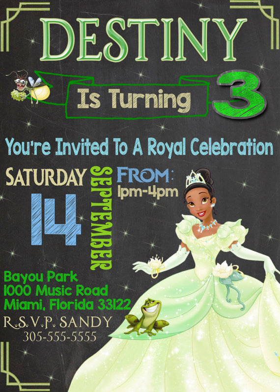 Princess And The Frog Chalkboard Invitation