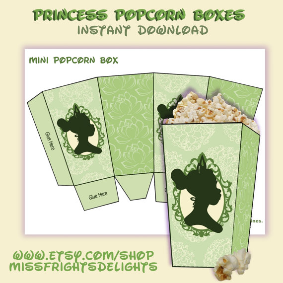 Princess And The Frog Party Favor Popcorn Boxes