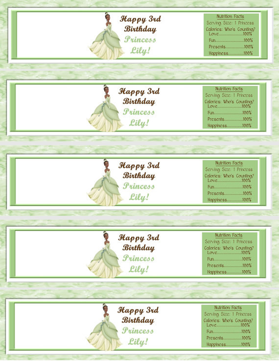Princess And The Frog Water Bottle Labels