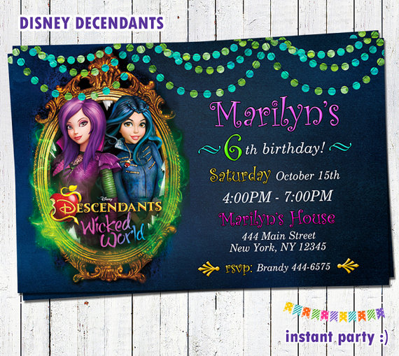 Disney Descendants Birthday Party Invitations And Printables – Disney Photo Birthday Invitations