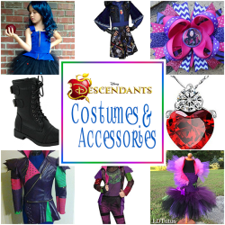 Disney Descendants Costumes And Accessories | Includes A Selection Of Costumes, Tutu Dresses, Hair Bows, Wigs, Boots And Jewelry For Dessing Up As Mal Or Evie