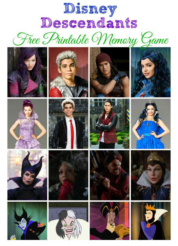 Disney Descendants Printable Memory Game