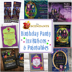 Disney Descendants Birthday Party Invitations And Other Party Printables | Includes Birthday Party Invites, Cupcake Toppers, Water Bottle Labels, Thank You Tags, Favor Boxes And More