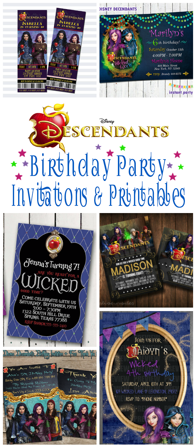Disney Descendants Birthday Party Invitations And Other Printables