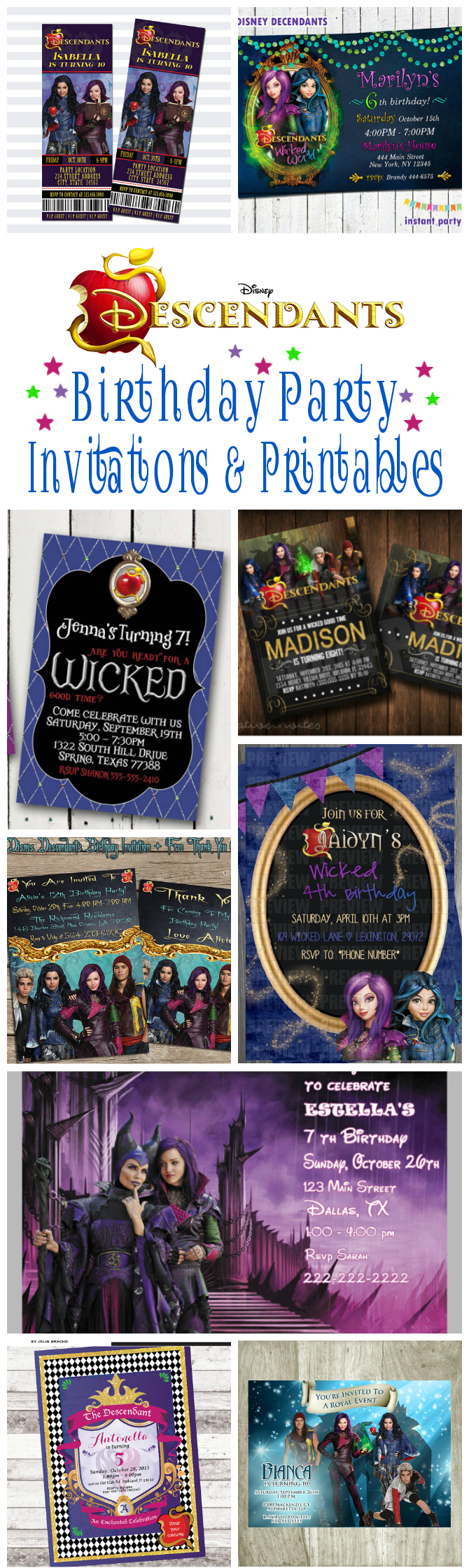 disney descendants birthday party invitations and printables omg disney descendants birthday party invitations and other party printables includes birthday party invites cupcake
