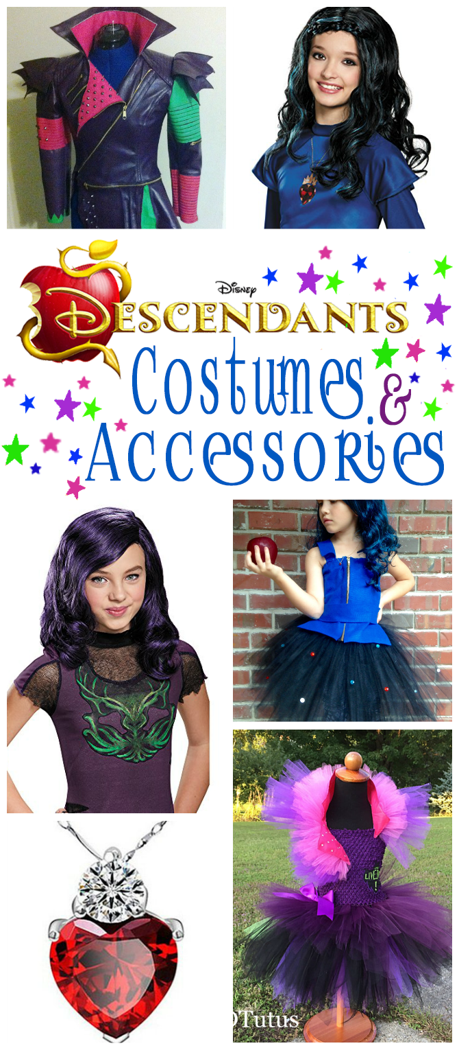 Disney Descendants Costumes And Accessories | Includes A Selection Of Costumes, Tutu Dresses, Hair Bows, Wigs, Boots And Jewelry For Dressing Up As Mal Or Evie