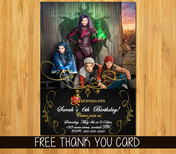 Disney Descendants Invitation And Thank You Card