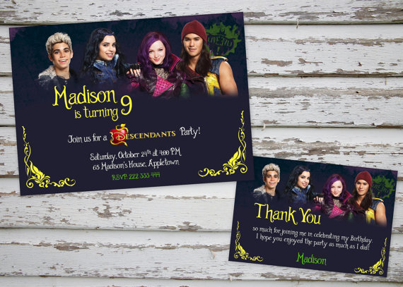 Disney Descendants Birthday Party Invite And Thank You Card
