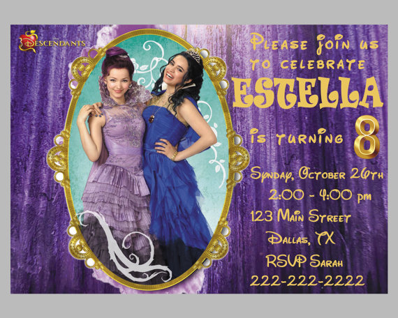 Disney Descendants Mal And Evie Birthday Invitation