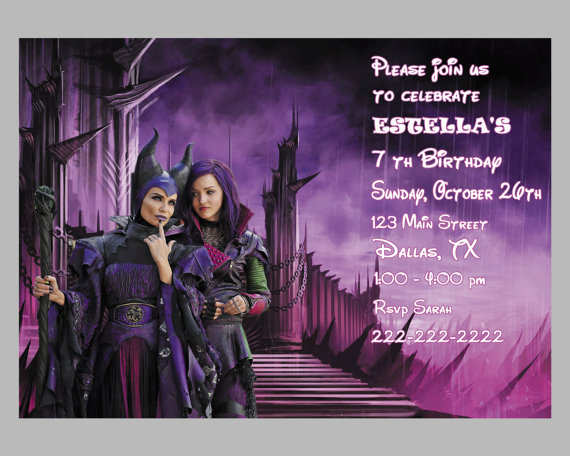 Disney The Descendants Birthday Party Invitation