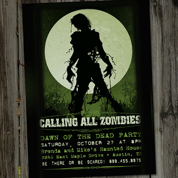 Zombie Dawn of the Dead Halloween Printable Party Invitation