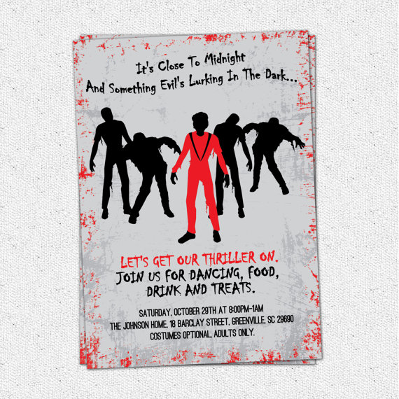 Printable Michael Jackson Thriller Party Invitation