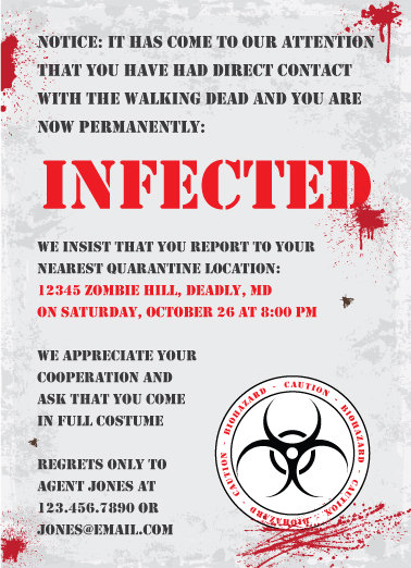 printable zombie walking dead party invite - Zombie Halloween Invitations