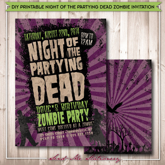 Printable Night of the Partying Dead Zombie Invitation