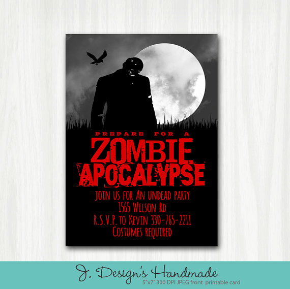 Printable Zombie Apocalypse Party Invite