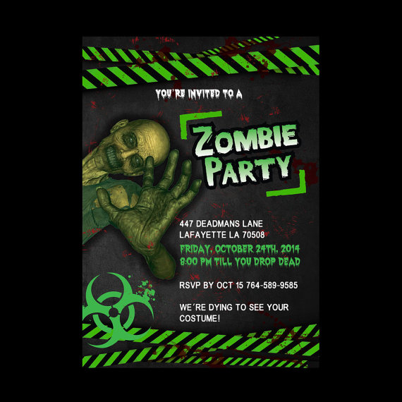 Printable Zombie Party Halloween Invitations