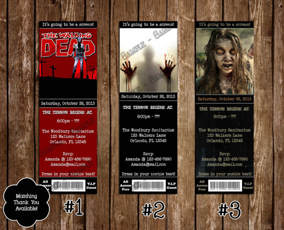 Printable Walking Dead Birthday Party Ticket Invitations