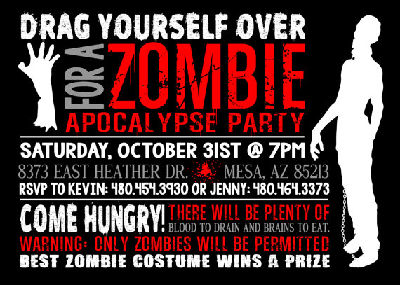 Printable Zombie Costume Party Invitation