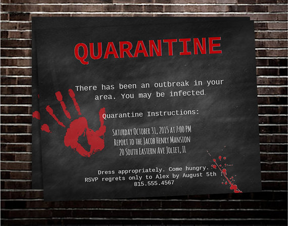Printable Chalkboard Zombie Halloween Party Invitation
