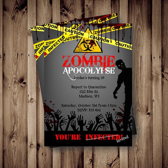 Zombie Apocalypse Birthday Party Invitation