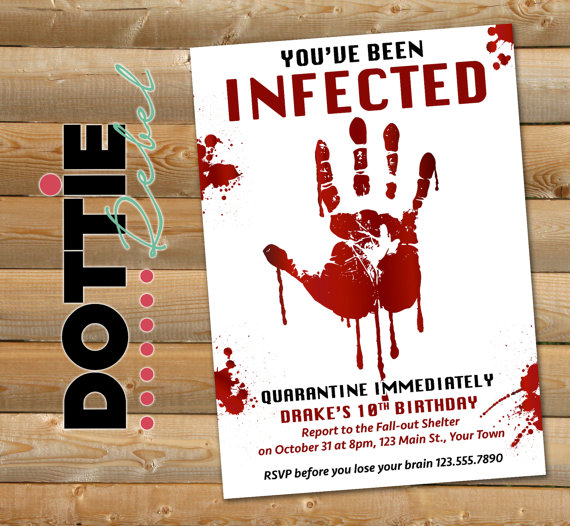 Printable Zombie Infected Bloody Hand Birthday Party Invitation