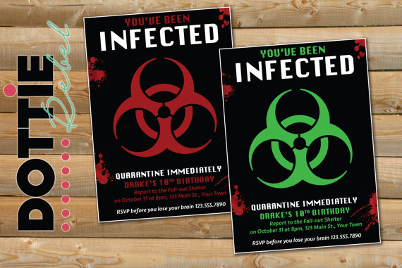 Printable Zombie Infected Party Invitation