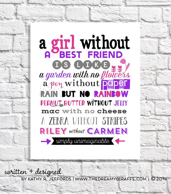Personalized Best Friend Wall Art Print Available Via Thedreamygiraffe