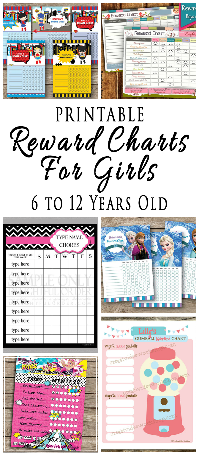 Printable Reward Charts For Kids 6 to 12 Years Old | OMG
