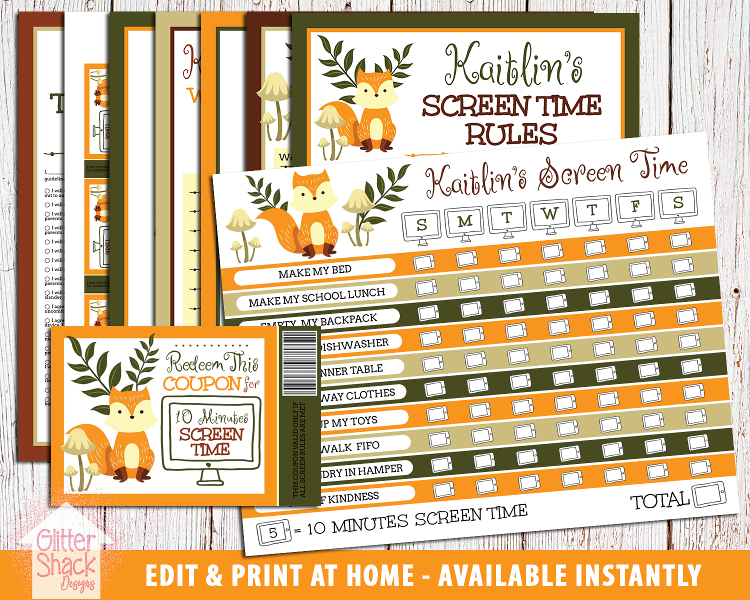 Editable & Printable Screen Time Kit