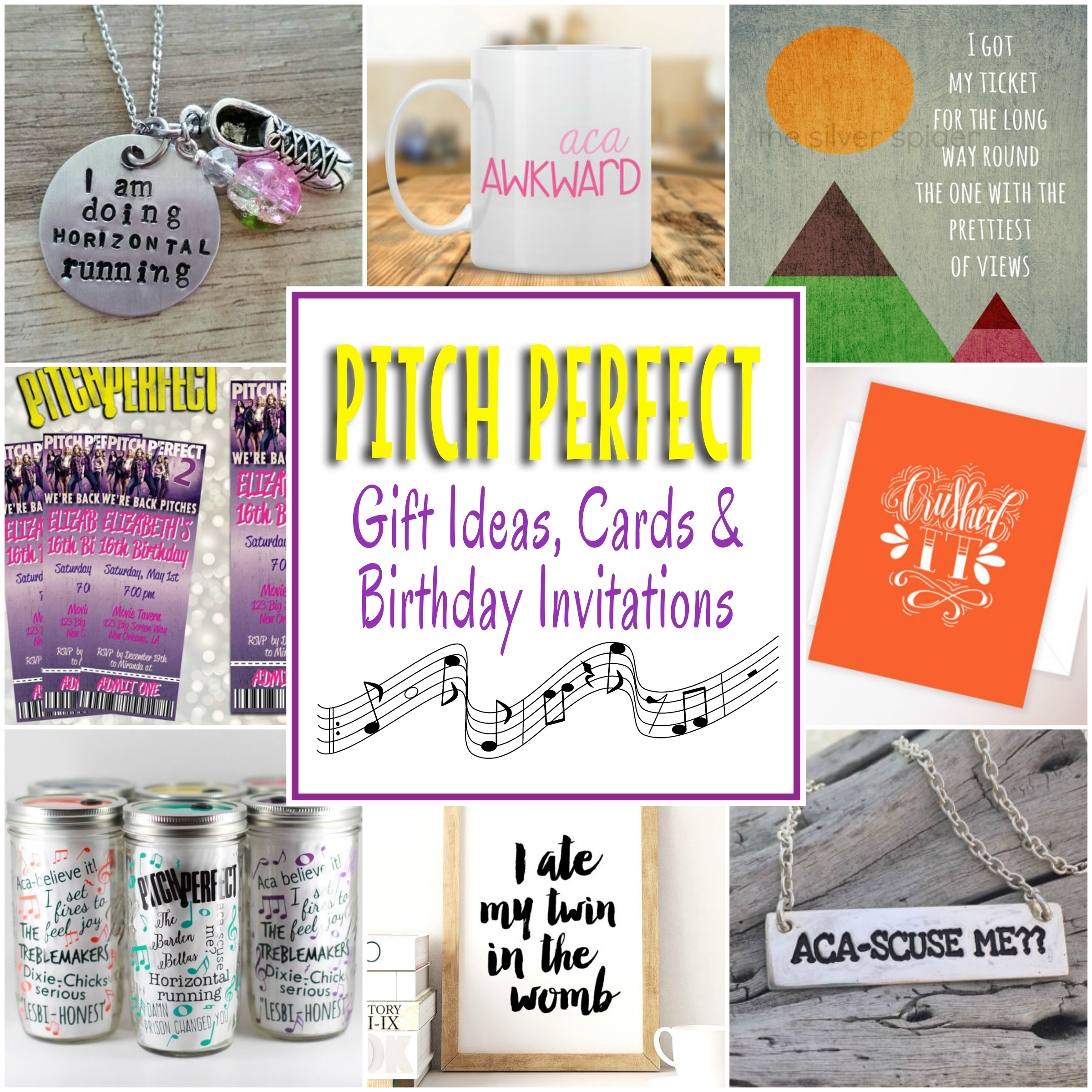 Pitch perfect gifts cards and birthday party invitations for A perfect gift for a friend