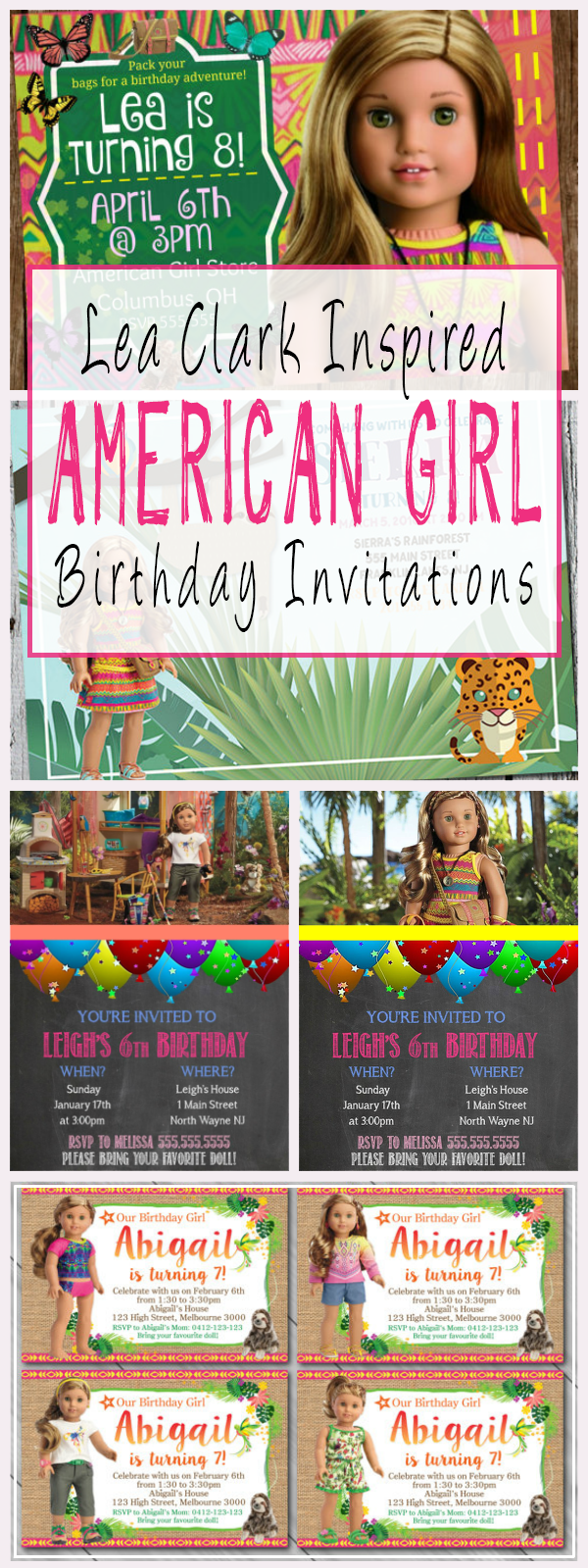 Lea Clark Inspired American Girl Birthday Party Invitations And ...